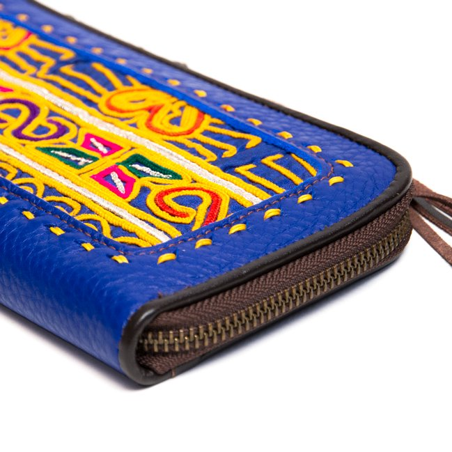 画像3:Rangmai アフガニスタン刺繍古布の革製ロングウォレット(ブルー)