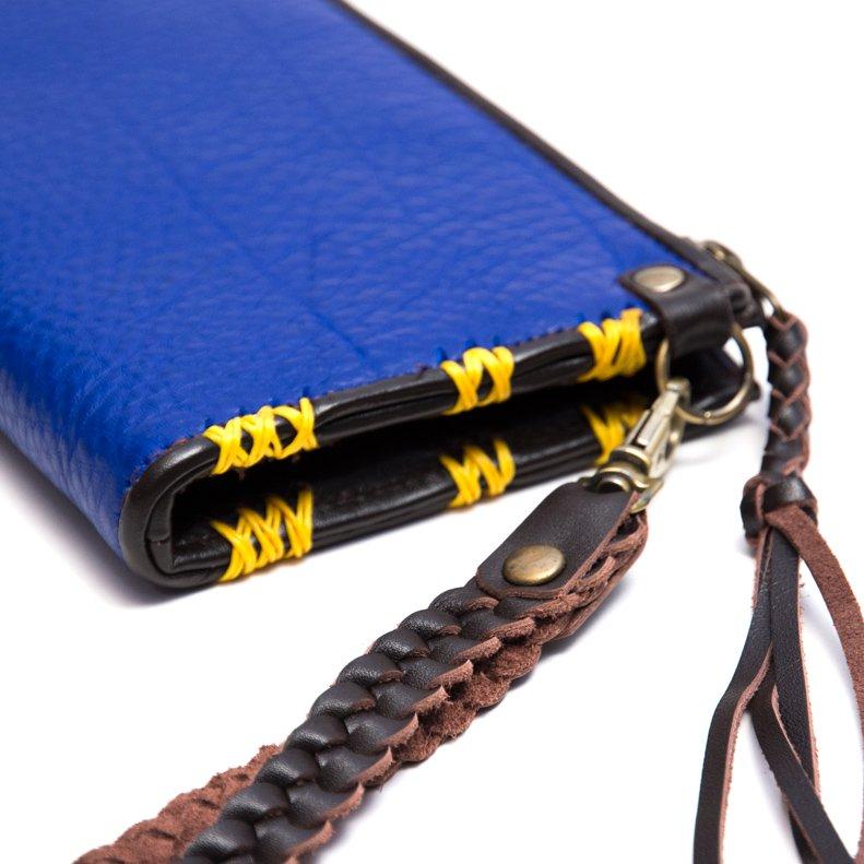 画像4:Rangmai アフガニスタン刺繍古布の革製ロングウォレット(ブルー)