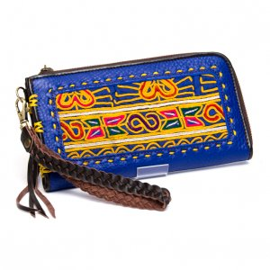 Rangmai アフガニスタン刺繍古布の革製ロングウォレット(ブルー)