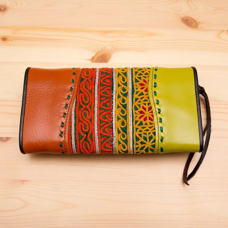 画像2:Rangmai 大人の民族刺繍レザー長財布/古布/デザイナーズブランド