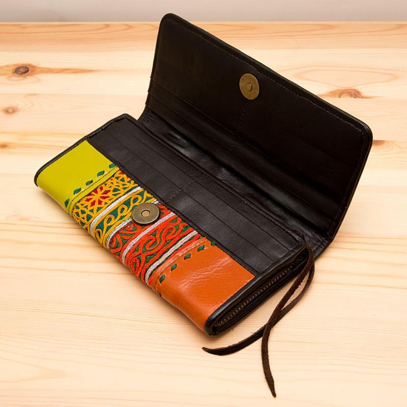 Rangmai 大人の民族刺繍レザー長財布