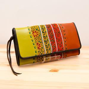 Rangmai 大人の民族刺繍レザー長財布/古布/デザイナーズブランド