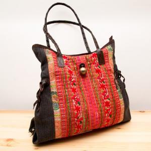 Rangmai モン族刺繍×ヘンプ(麻)ショルダーバッグ/レザーハンドル/タイ雑貨