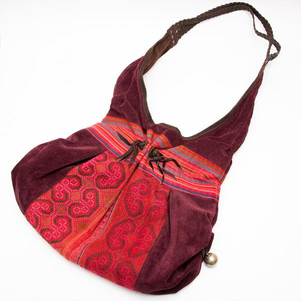 Rangmai モン族刺繍ショルダーバッグ/コーデュロイ/レザーハンドル/モン族雑貨