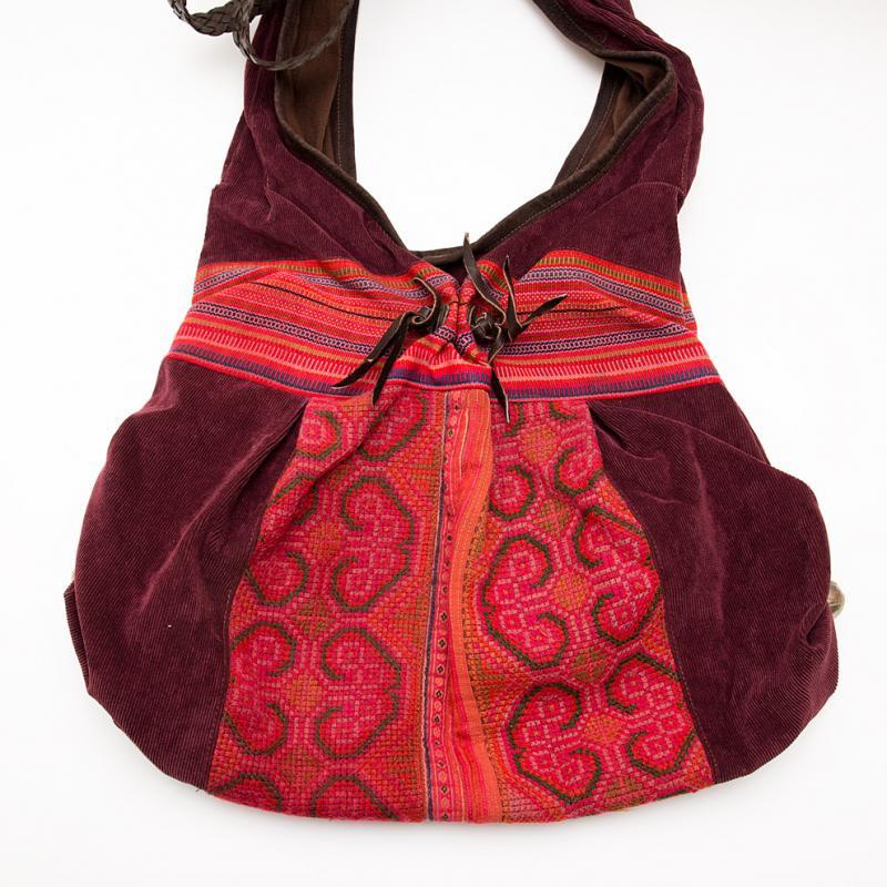 画像2:Rangmai モン族刺繍ショルダーバッグ/コーデュロイ/レザーハンドル/モン族雑貨