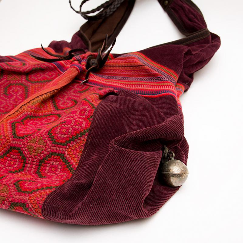 画像3:Rangmai モン族刺繍ショルダーバッグ/コーデュロイ/レザーハンドル/モン族雑貨