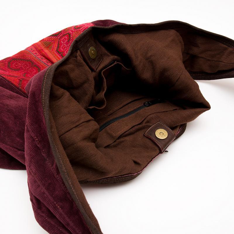 画像4:Rangmai モン族刺繍ショルダーバッグ/コーデュロイ/レザーハンドル/モン族雑貨