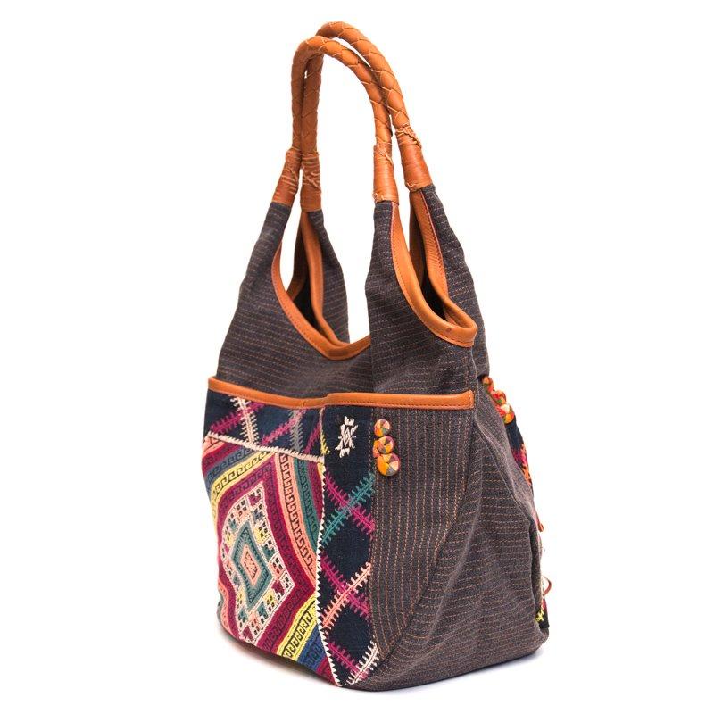 画像2:Rangmai カレン族ヴィンテージ刺繍×レザーショルダーバッグ