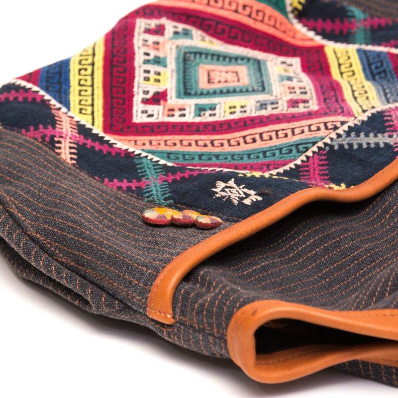 画像3:Rangmai カレン族ヴィンテージ刺繍×レザーショルダーバッグ