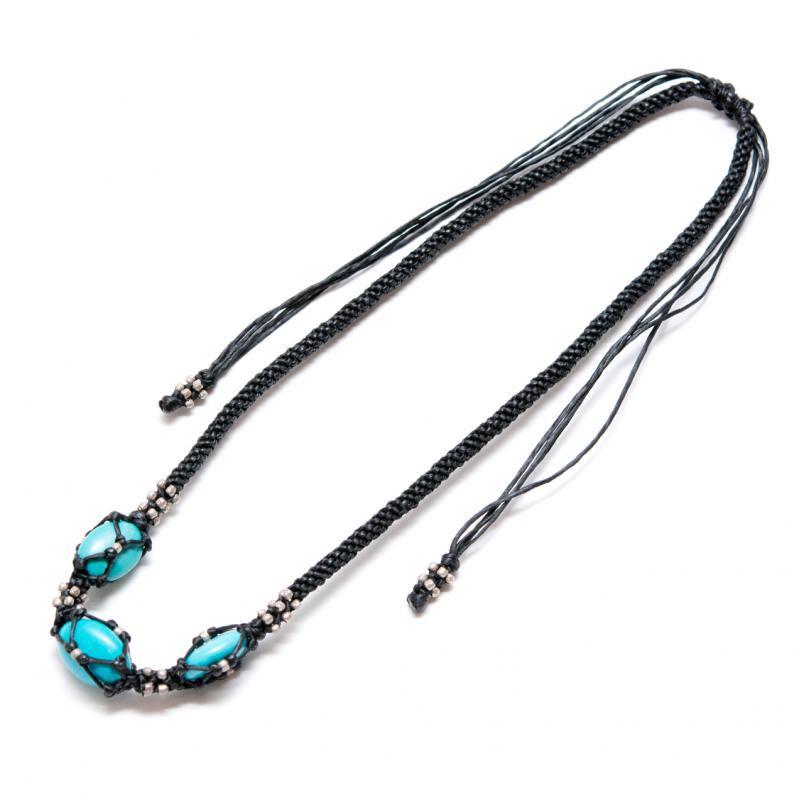 【カレンシルバー】大粒ターコイズがヘッドに編み込まれた夏色ネックレス