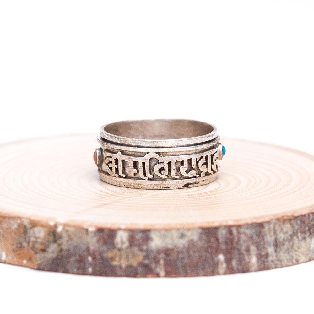 チベット密教仏具 ドルジェ/金剛杵が刻まれた重厚なシルバーリング(指輪)