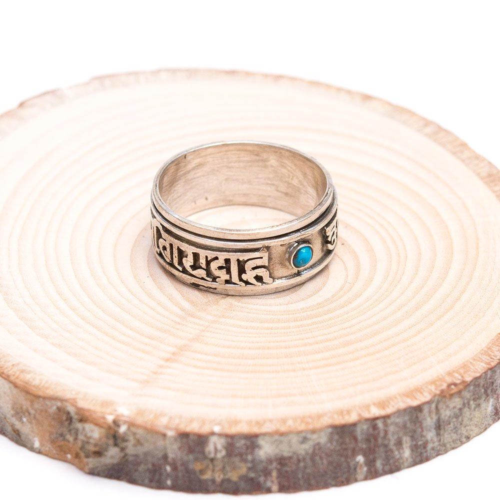 【チベット密教仏具】チベット密教梵字の回転シルバーリング Type.2