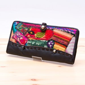 Rangmai モン族刺繍のパッチワーク長財布(ダークブラウン)