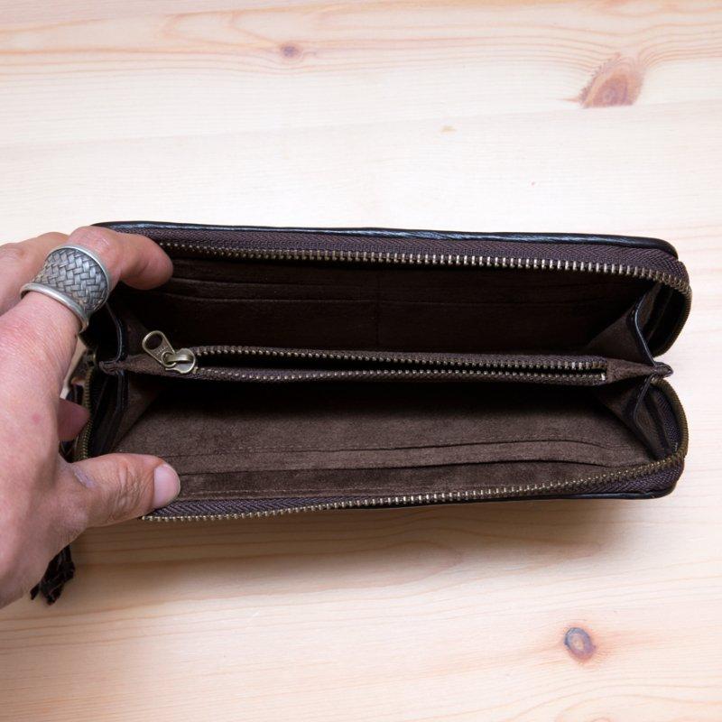 Rangmai モン族刺繍のラウンドファスナー長財布(ダークブラウン)