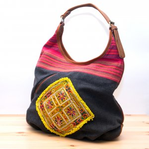 Rangmai アフガニスタン刺繍古布×レザー(革)ショルダーバッグ