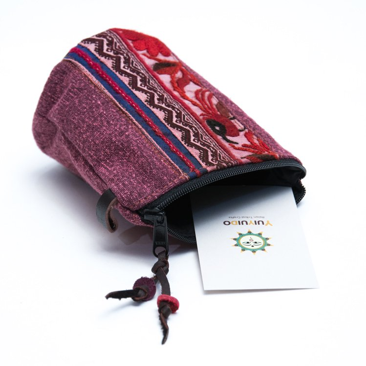 Rangmai モン族のヴィンテージ刺繍(丸底)ポーチ Type.1
