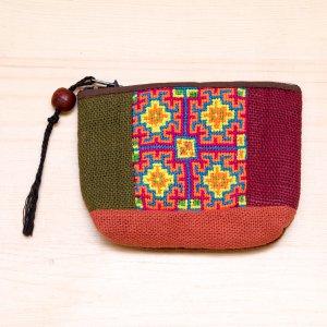 ThongPua モン族ヴィンテージ刺繍のコインポーチ