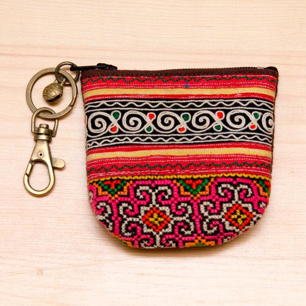 ThongPua タイの山岳民族 モン族刺繍古布のキーポーチ