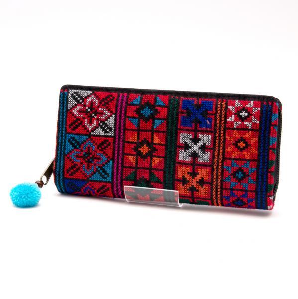 アカ族刺繍(精彩)の長財布/ラウンドファスナータイプ
