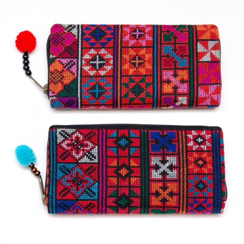 画像4:アカ族刺繍(精彩)の長財布/ラウンドファスナータイプ