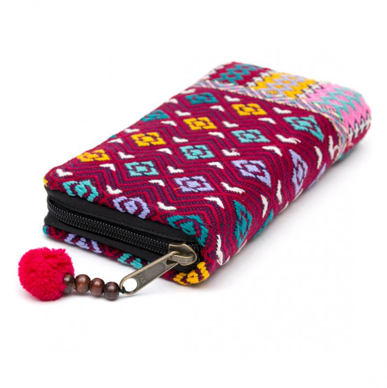 カレン族手織り布(精彩)ラウンドファスナータイプの長財布 Type.1