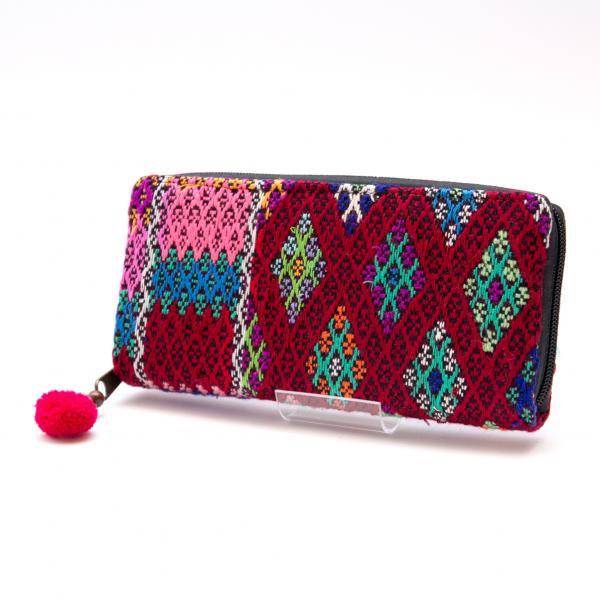 カレン族手織り布(精彩)ラウンドファスナータイプの長財布 Type.2