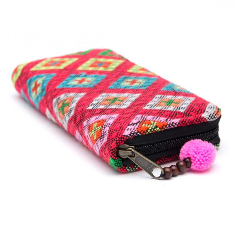 画像2:カレン族刺繍(精彩)の長財布/ラウンドファスナータイプ