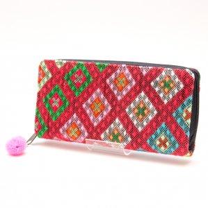 カレン族刺繍(精彩)の長財布/ラウンドファスナータイプ