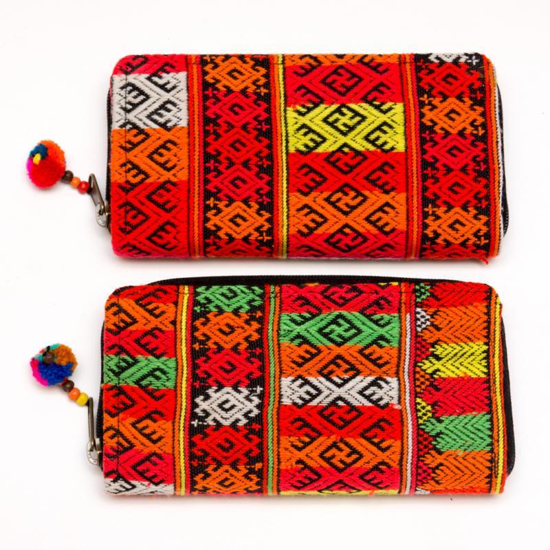 ヤオ族手織り布のラウンドファスナー長財布