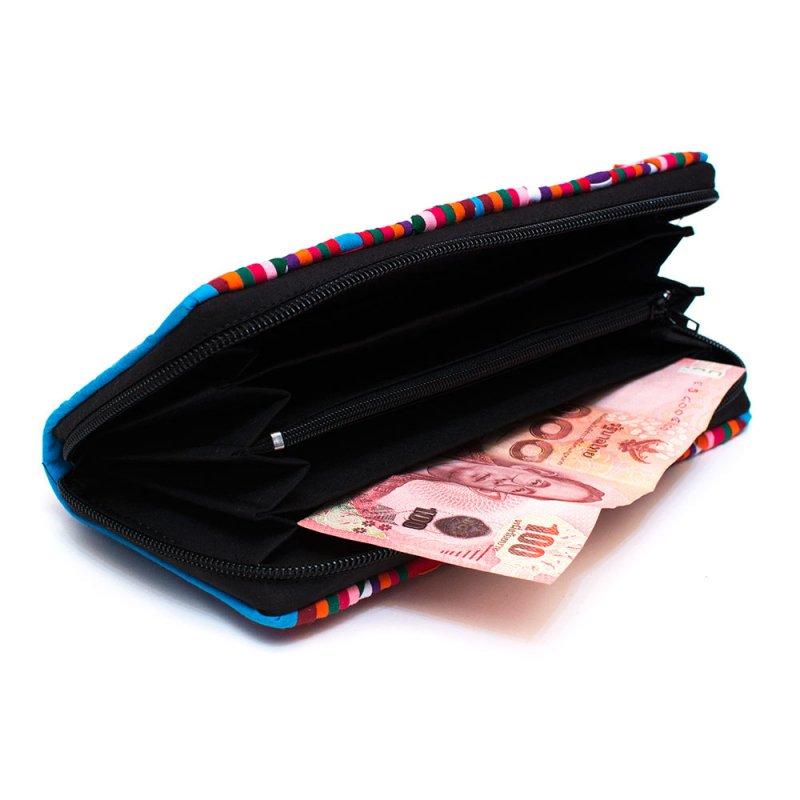 画像3:リス族 カラフル刺繍のラウンドファスナー長財布(ブルー)