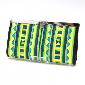 リス族 パッチワーク刺繍のがま口長財布(ライムグリーン)