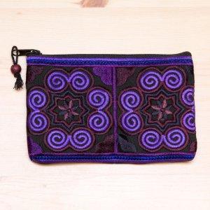 モン族雑貨|刺繍ポーチS(紫)