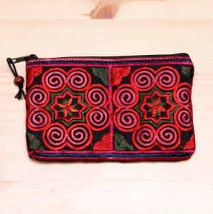 モン族雑貨|刺繍ポーチS(赤)