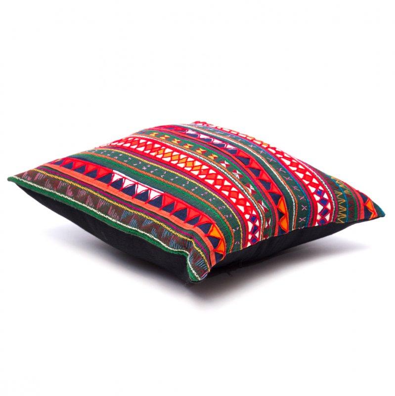 画像2:アカ族刺繍のクッションカバー(緑)