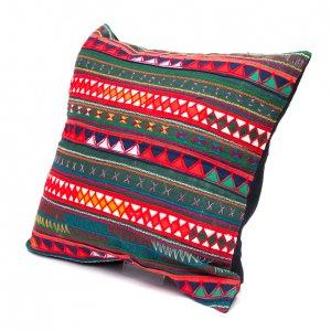 アカ族刺繍のクッションカバー(緑)