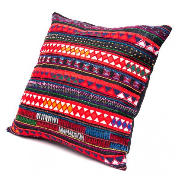 アカ族刺繍のクッションカバー(紺)