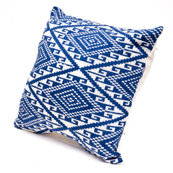 ラオ族刺繍のクッションカバー(紺)