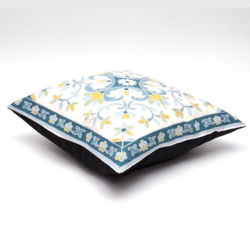 画像2:モン族刺繍のクッションカバー(青)