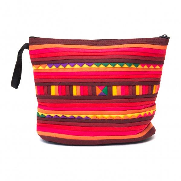 リス族刺繍のマチ付きカラフルポーチ M-size(レッド/オレンジ)