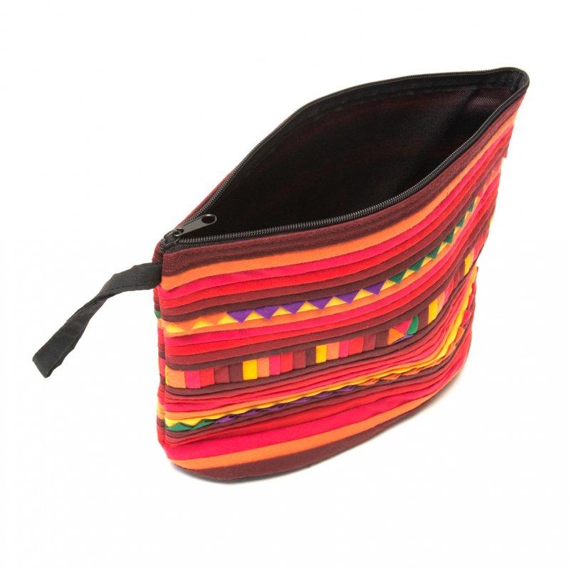 画像4:リス族刺繍のマチ付きカラフルポーチ M-size(レッド/オレンジ)