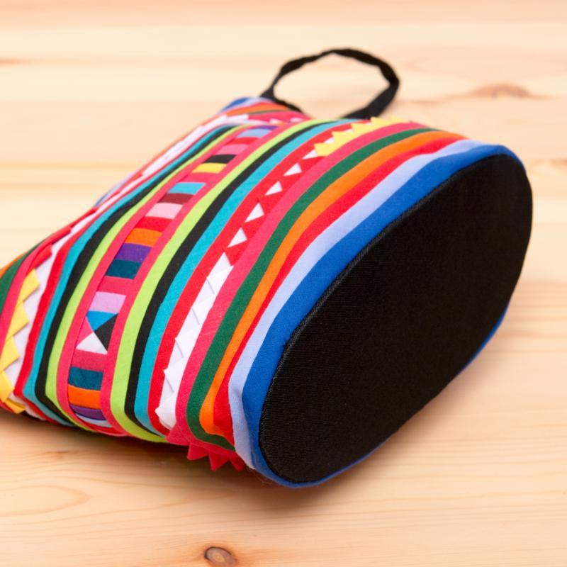 画像3:リス族刺繍のマチ付きカラフルポーチ M-size(ブルー/レッド)