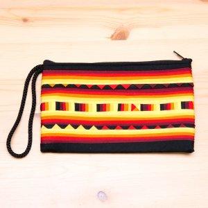 リス族 パッチワーク刺繍のロングポーチ(イエロー)