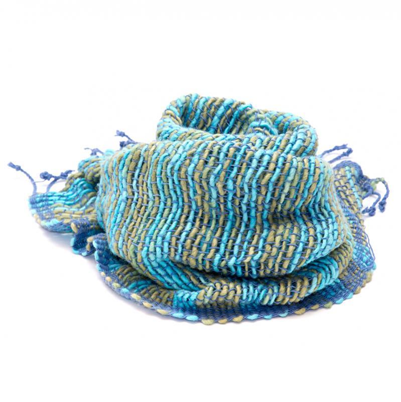 画像2:Stole - カラフルなコットンストール(ブルー系)