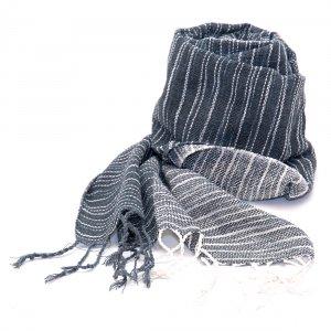 ラオ族手織りのコットンストール(ブラック)