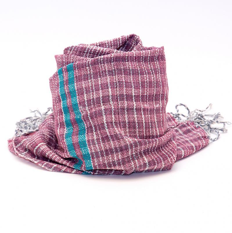画像2:ラオ族手織りのコットンストール(レッド)
