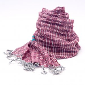 ラオ族手織りのコットンストール(レッド)