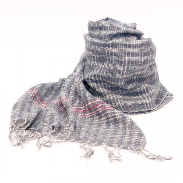 ラオ族手織りのコットンストール(チェック&グレー)