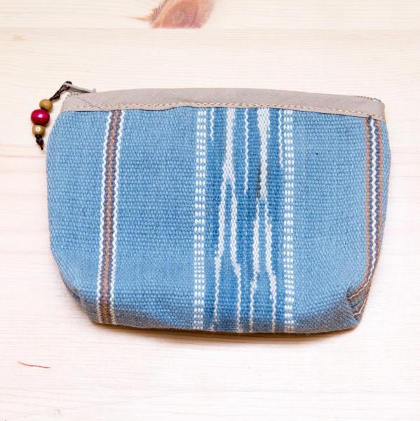 A Bu-Ali(アブアリ)カレン族絣柄手織りポーチ(ブルー)