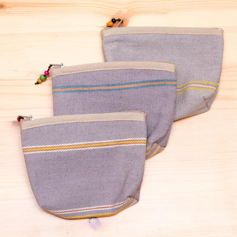 A Bu-Ali(アブアリ)カレン族手織り小物ポーチ(グレー)