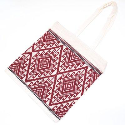 ラオ族手織り布のトートバッグ (ファスナータイプ)